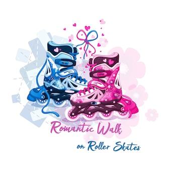 ロマンチックに結ばれたメンズとレディースのローラースケート。