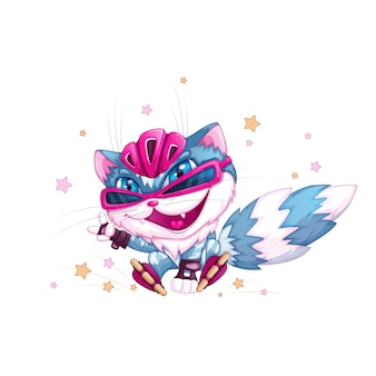ヘルメットとローラースケートで面白い青い猫。
