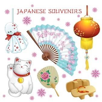 日本のお土産:ファン、懐中電灯、テルテルボド、下駄、猫。