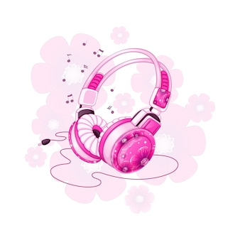 ピンクの花柄のデザインのスタイリッシュなステレオヘッドフォン。