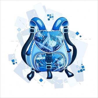 幾何学的なデザインのスタイリッシュなスポーティな青いバックパック。