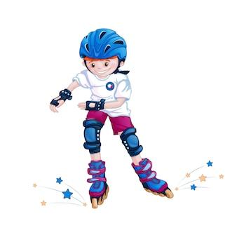 Мальчик-подросток катается на роликах в шлеме, налокотниках и наколенниках.
