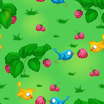 面白い鳥、茂み、イチゴのシームレスパターン