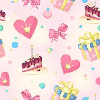 誕生日のためのパターン。ケーキ、キャンドル、ハート、クラウン、