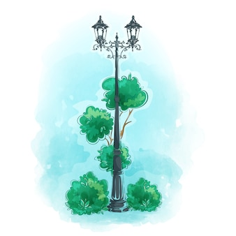 Старый уличный фонарь из кованого железа в парке