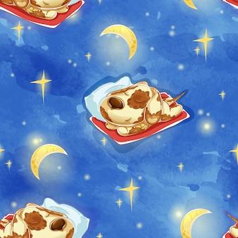 枕の上のかわいい眠っている犬のパターン。