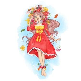 秋の葉、ガーベラ、ナナカマドの花輪でかわいい女の子鹿。