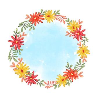秋のガーベラと葉のかわいい花輪フレーム。青い水彩