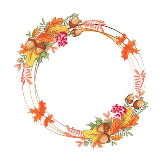秋の葉、ドングリ、山の灰と交差するリングの美しいフレーム。