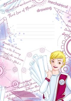 ノートブックまたはメモ帳のテンプレート。紙のロールを持つ若い学生の女の子