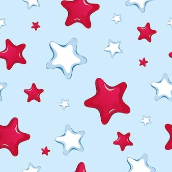 漫画の赤と白の星のシームレスパターン