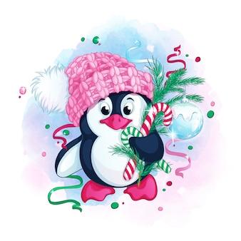 Милый пингвин в вязаной розовой шапке с помпоном держит