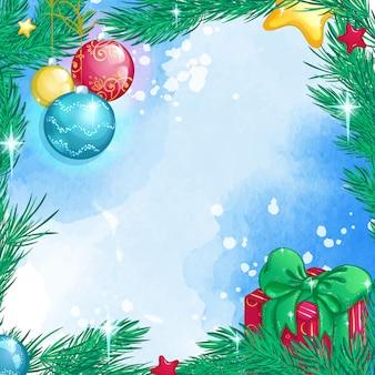 クリスマスのクリスマスツリーの枝、ガラス玉、ギフトボックスと正方形の背景