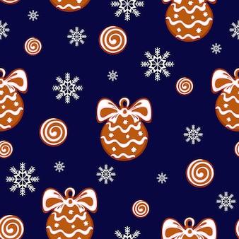 クリスマスボールの形でジンジャーブレッドクッキーのパターン
