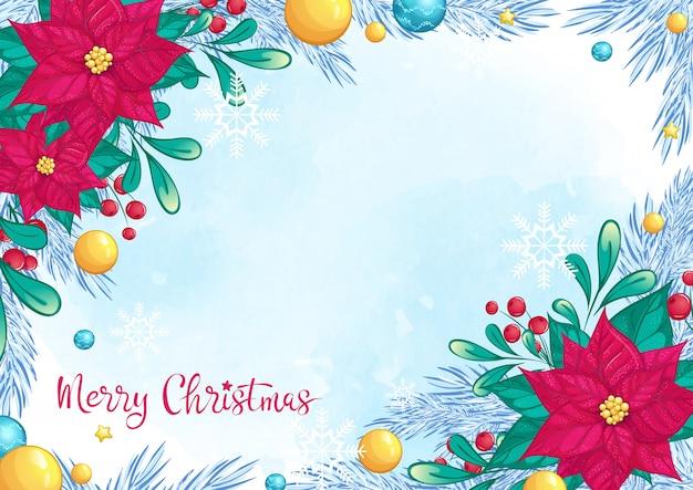 赤いポインセチアと手書き碑文の美しいクリスマスカードの背景