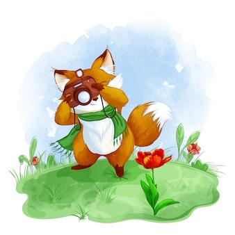 Милая лиса фотографирует красный тюльпан. весенняя детская иллюстрация