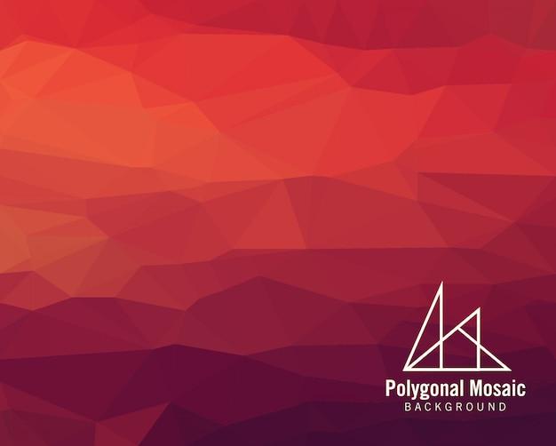 赤の多角形のモザイクの背景