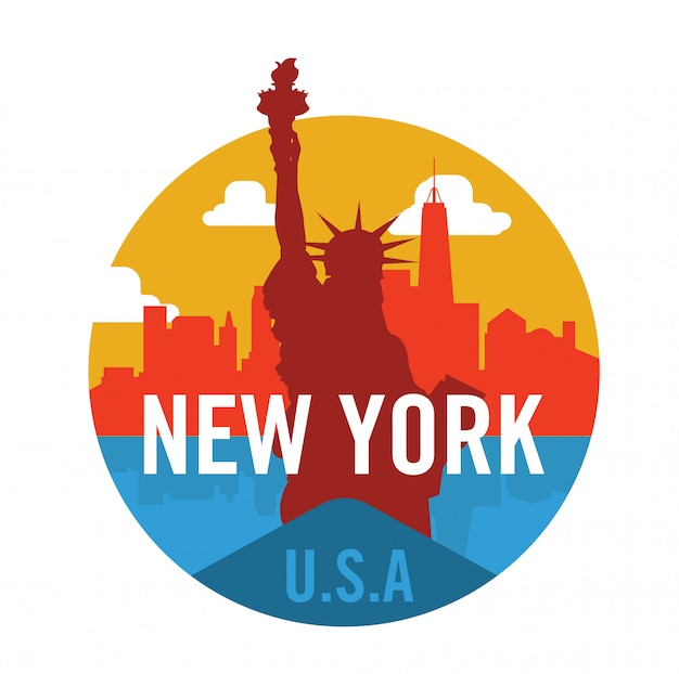 Логотип нью-йорка со статуей свободы