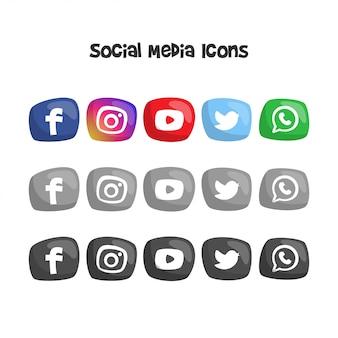 かわいいソーシャルメディアのロゴとアイコン