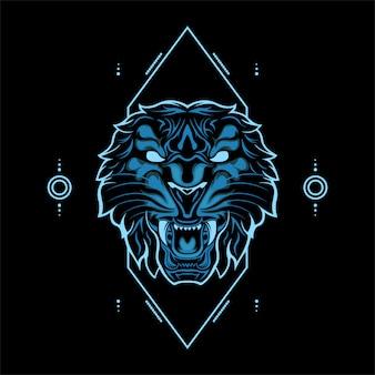 Голова дикого тигра синего цвета с абстрактными геометрическими орнаментами