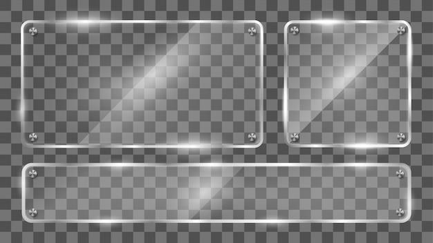ガラスフレーム、反射ガラスバナーのコレクション。