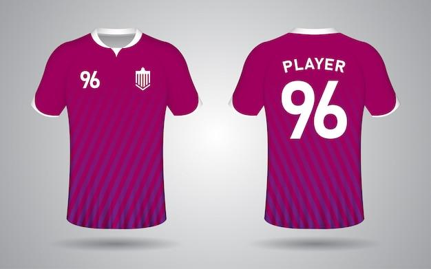 Фиолетовый шаблон с коротким рукавом футбольного свитера