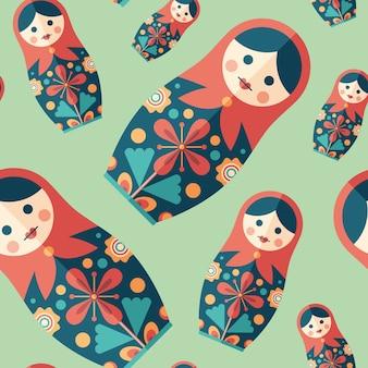 伝統的な入れ子の人形フラットアイコンのシームレスなパターン。