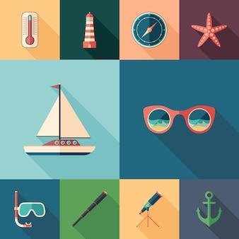 海の冒険は、長い影を持つ平らな正方形のアイコンのセットです。