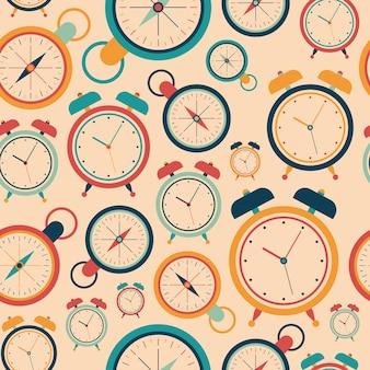 目覚まし時計とヴィンテージ抽象的なシームレスなパターン。