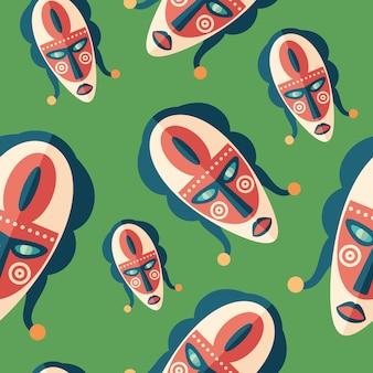 ビンテージエスニックマスクフラットアートのシームレスパターン。