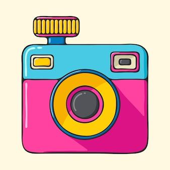レトロなカメラ手描きポップアートスタイルのイラスト。