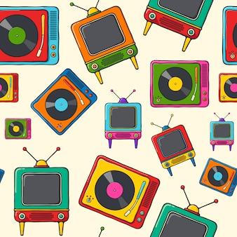 ターンテーブルとレトロなテレビ手描きポップアートスタイルのシームレスパターン。