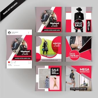 赤ファッションソーシャルメディアのポストテンプレート