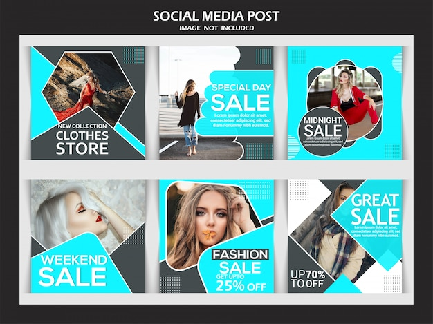 ソーシャルメディアのファッション販売バナーセット