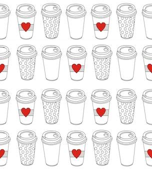 シームレスなパターンのコーヒーのカップ