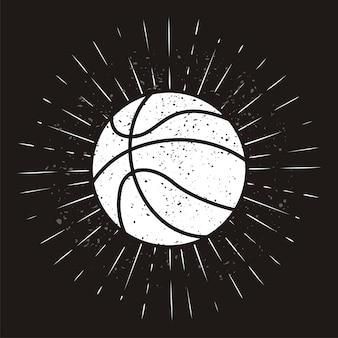 グランジ背景にサンバースト付きビンテージバスケットボール