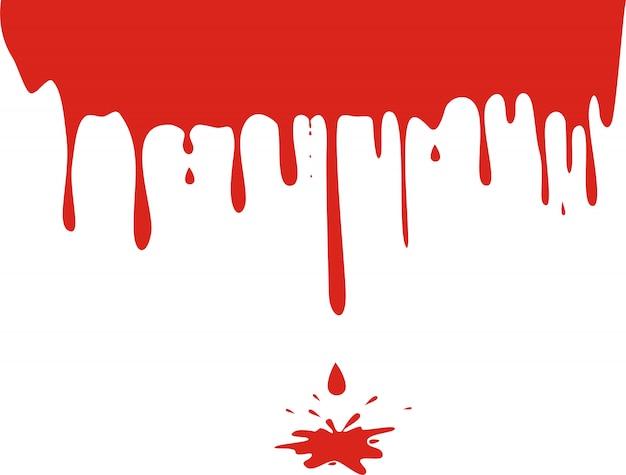 白で隔離される滴り落ちる血