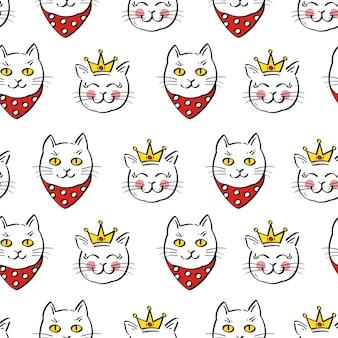 かわいい猫、ベクトル図のシームレスパターン