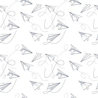 折り紙紙飛行機のシームレスパターン