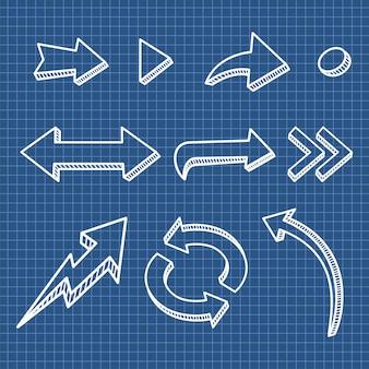 矢印手描きデザイン要素のセット