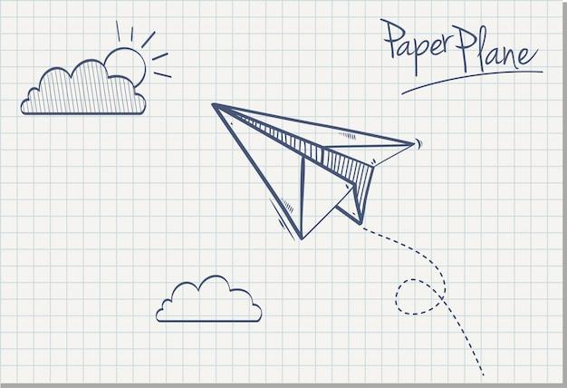 手描きの紙飛行機、ベクトルイラスト