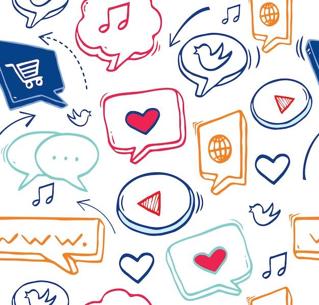シームレスパターンソーシャルメディアのアイコン。ソーシャルメディア、グローバルコンピューターネットワークでのコミュニケーション