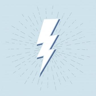 グランジの背景にサンバーストとヴィンテージ雷のシンボル