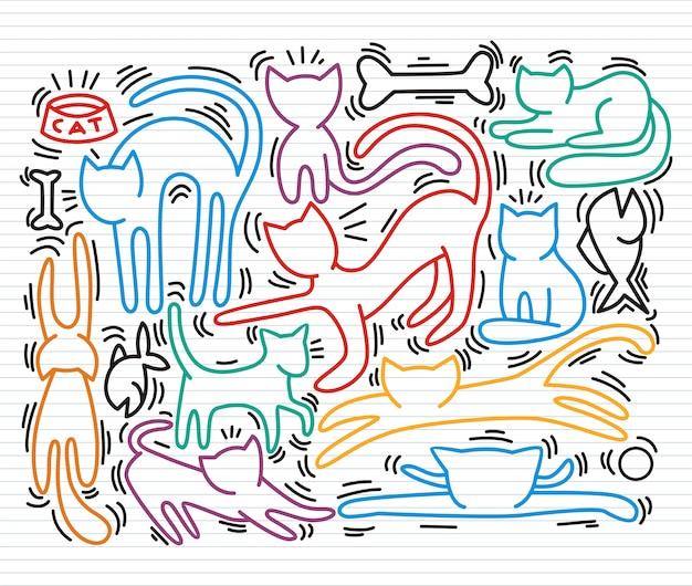 猫の文字の手描きのベクトル図。