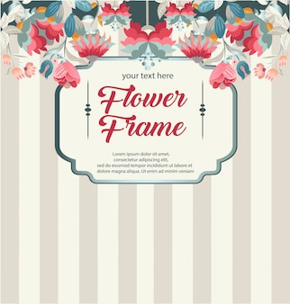 レトロな花のフレーム