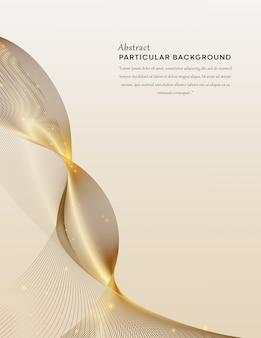 粒子の背景を持つエレガントな波状の黄金の線