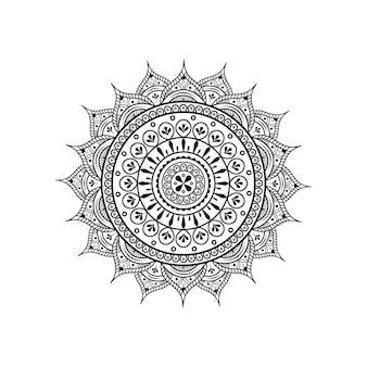 ヘナ&タトゥー装飾用のマンダラの形の円形パターン