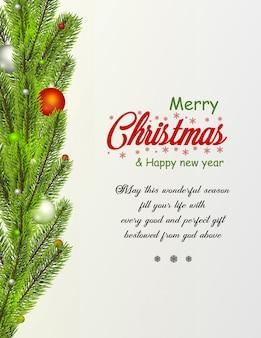 書道の季節の願いを持つお祝い要素で作られたクリスマスの装飾的なボーダー