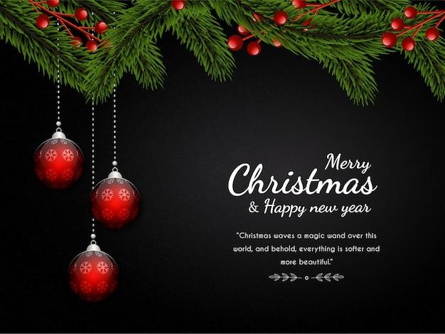 モミの木の装飾的な光のボールと豪華なクリスマスの背景