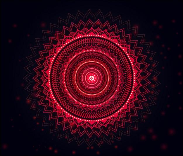 美しい柔らかい赤&黒のグラデーションの背景が赤のマンダラ